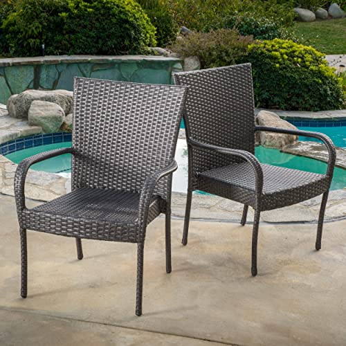 Great Deal Furniture Set of 2 Sultana Outdoor Grey Wicker Stackable Club Chair
