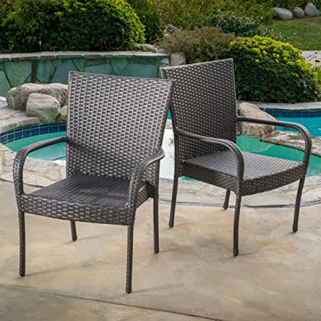 Set Of 2 Sultana Outdoor Grey Wicker Stackable Club Chairs