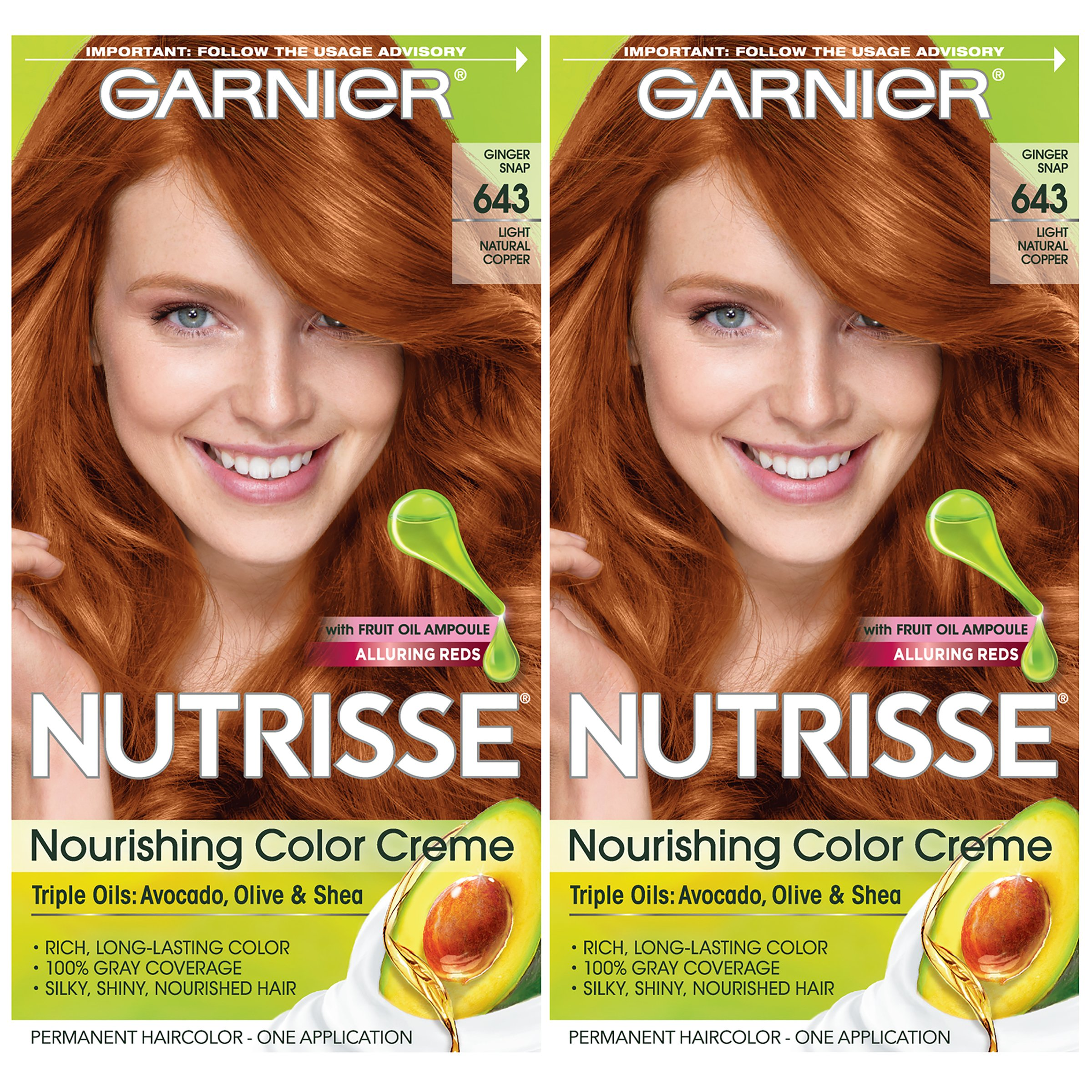 Garnier Hair Color Nutrisse Nourishing Creme, 643 Light Natural Copper, 2 Count by Garnier