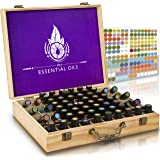 Essential Oil Wooden Box - Storage Case With Handle. Holds 68 Bottles & Roller Balls. Natural Pine Wood. Large Organizer Best For Keeping Your Oils Safe. Free Padding And EO Labels