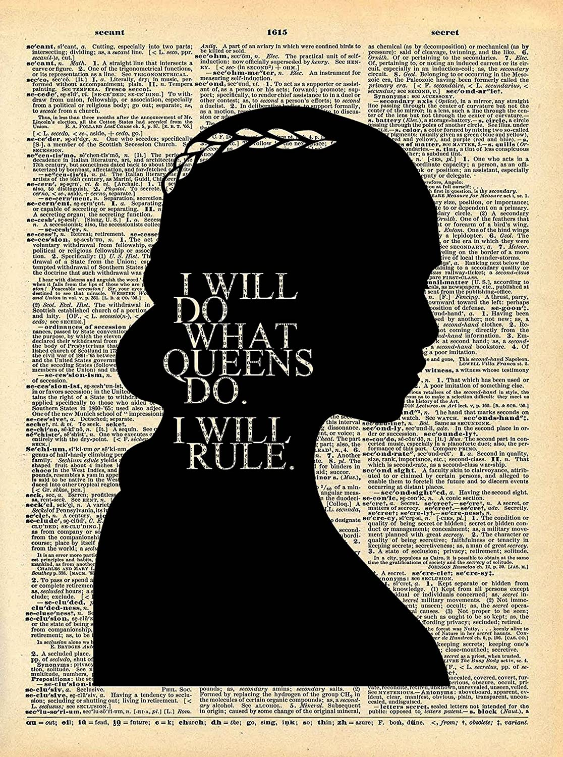 Game of Thrones Art - Khaleesi Queen Rule Quote - Vintage Dictionary Print 8x10 inch Home Vintage Art Abstract Prints Wall Art for Home Decor Wall Decorations Ready-to-Frame Queen