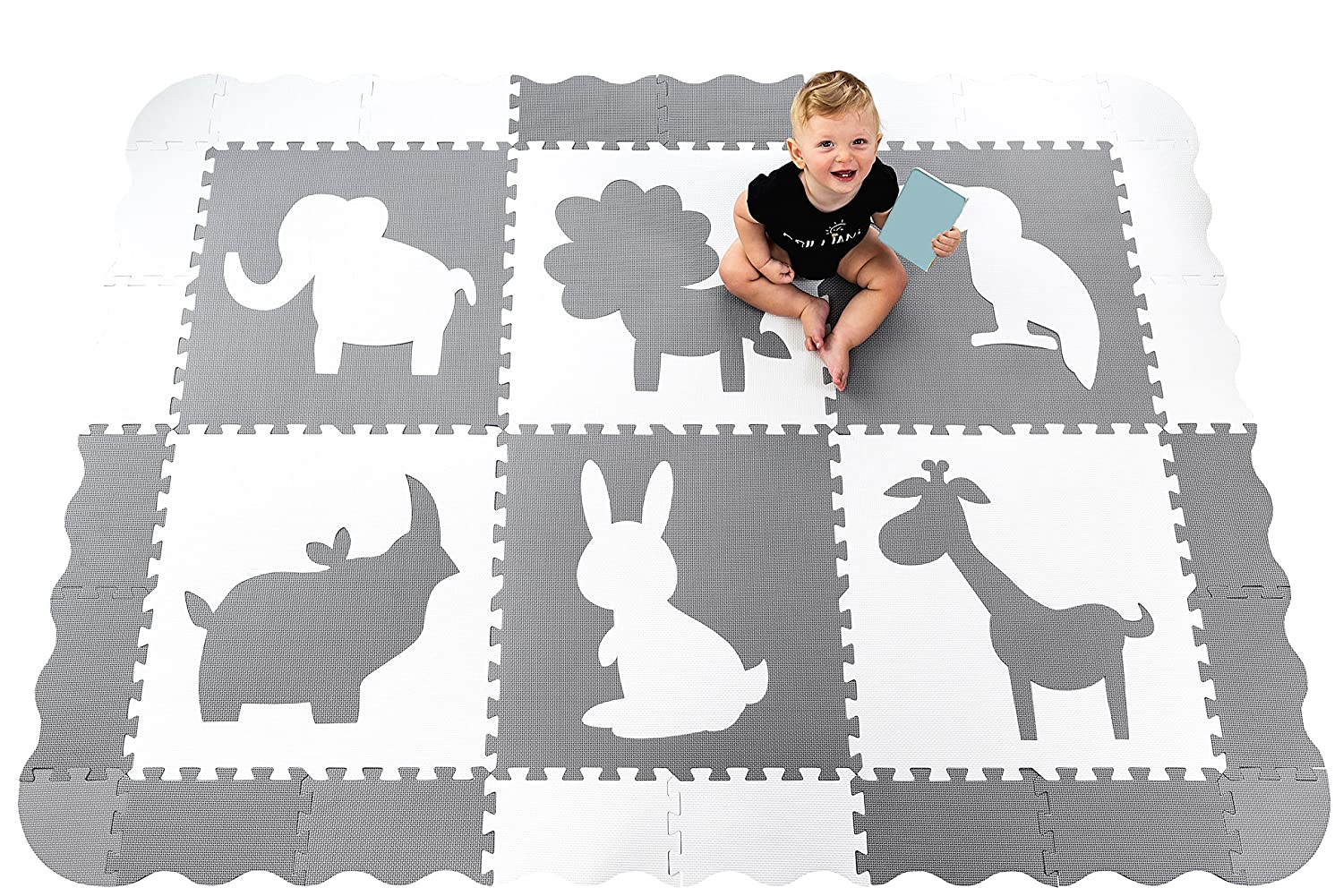 Large (5x7') Baby Play Mat with Interlocking Foam Floor Tiles. Neutral, Non Toxic Baby Playmat for Nursery, Playroom or Living Room (Grey and White) Wee Giggles