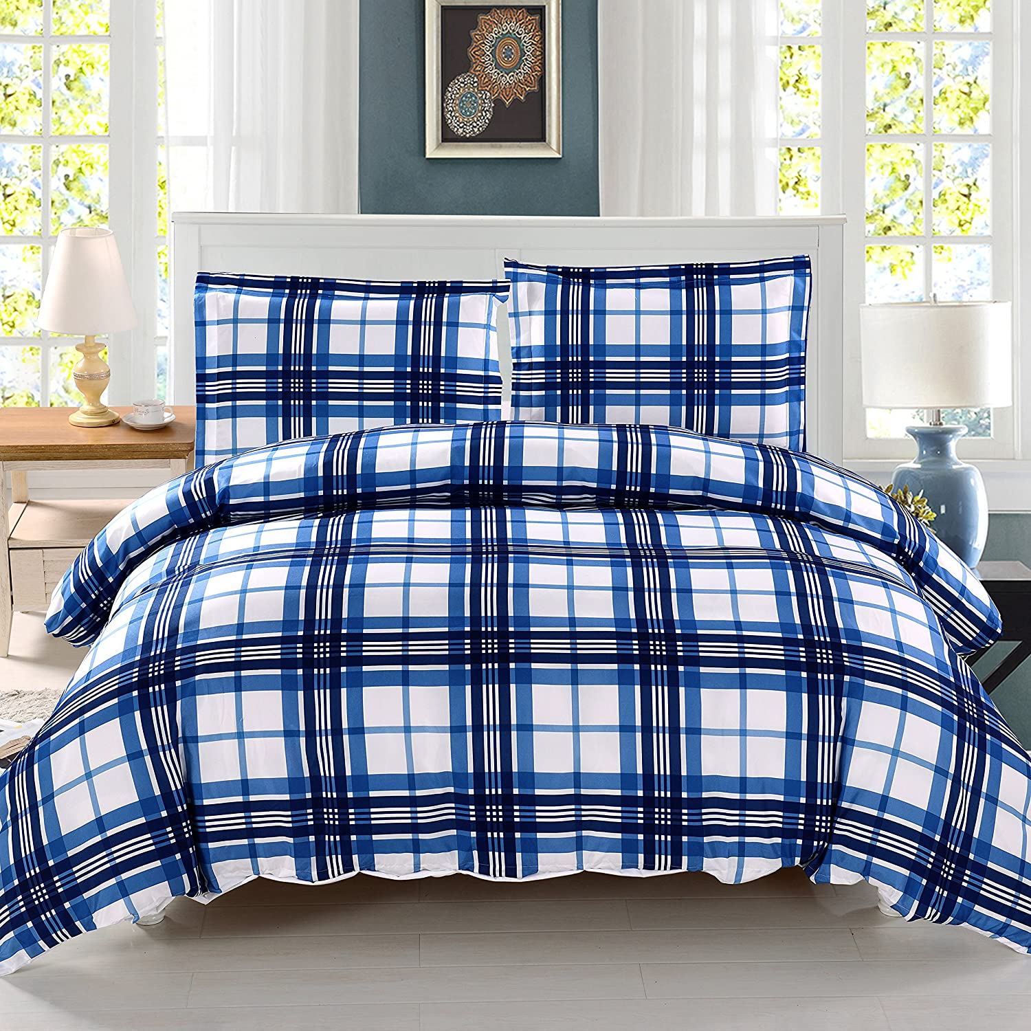3 Pieces Blue Plaid Duvet Cover Set Full/Queen Size - Luxury Duvet Cover with 2 Pillow Shams by Exclusivo Mezcla