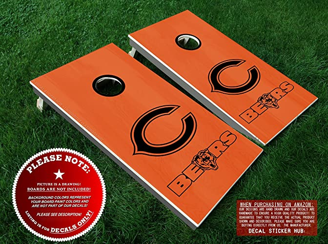 Pleasing Chicago Bears Cornhole Decals Black Diy Vinyl Sticker Set For Bean Bag Toss Six 6 Vinyl Decals For Lawn Games Cornhole Board Building And Alphanode Cool Chair Designs And Ideas Alphanodeonline