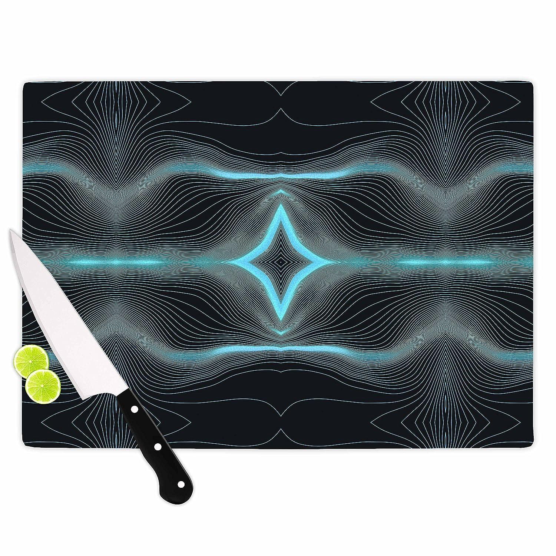 Multicolor KESS InHouse Pia SchneiderNiagara Line Vibes Blue Black Digital Cutting Board 11.5 x 15.75