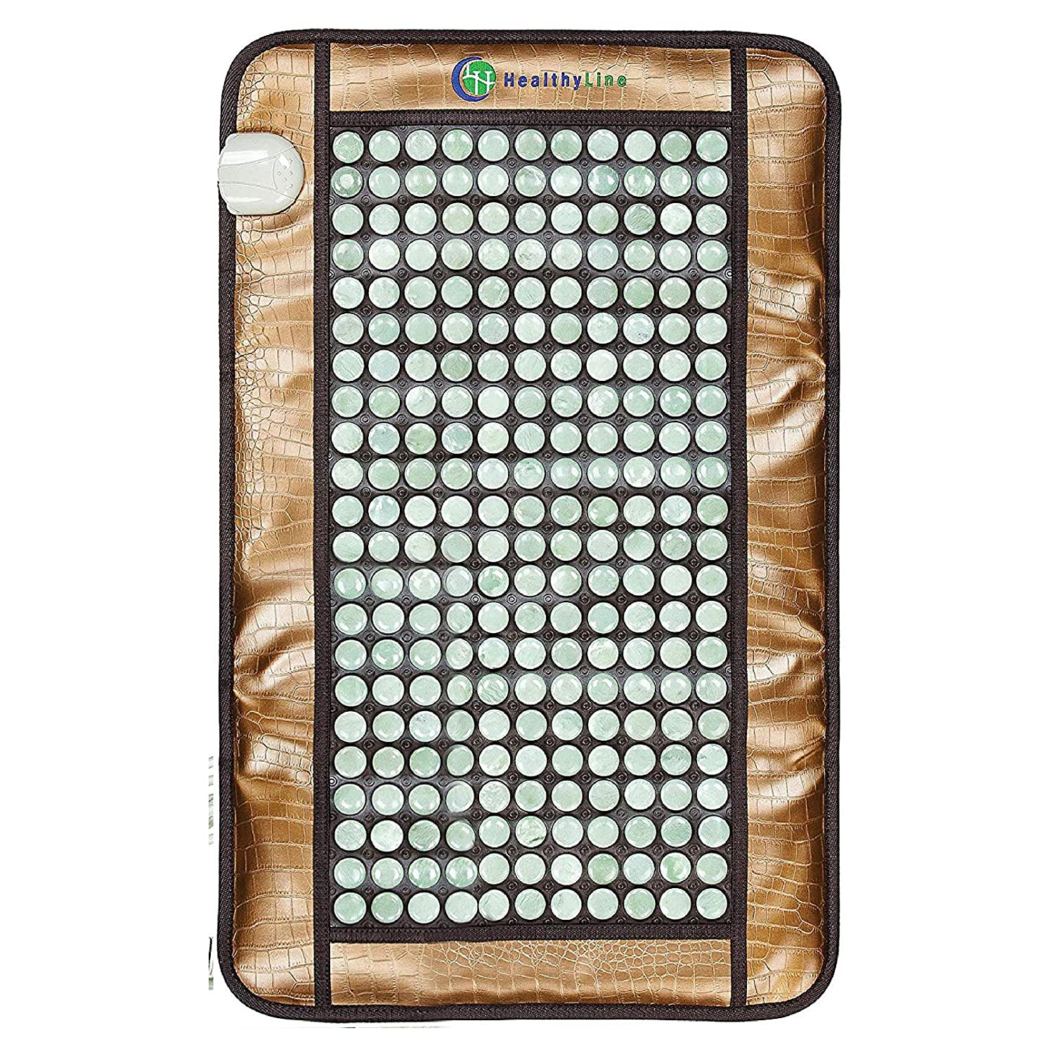 "Healthyline Far Infrared Heating Pad - Jade Hot Stone Therapy - Reduce Tight Muscle Tension - Improve Blood Circulation in Your Back, Shoulders, Neck, and Feet (32"" x 20"")"