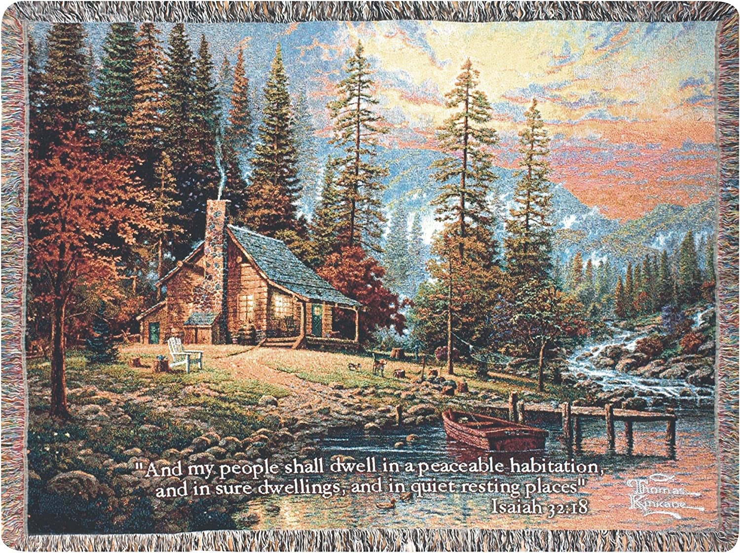 Manual Inspirational Collection 50 x 60-Inch Tapestry Throw with Verse, A Peaceful Retreat by Thomas Kinkade, 60 X 50-Inch