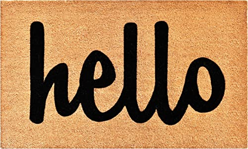Calloway Mills 100342436NBS Hello Doormat, 24 x 36 , Natural Black