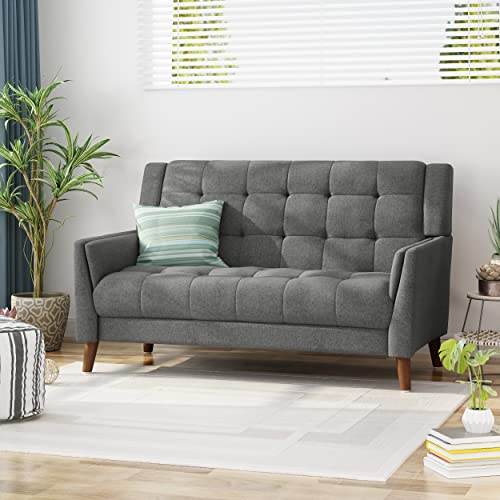 Christopher Knight Home Evelyn Fabric Loveseat, Dark Gray