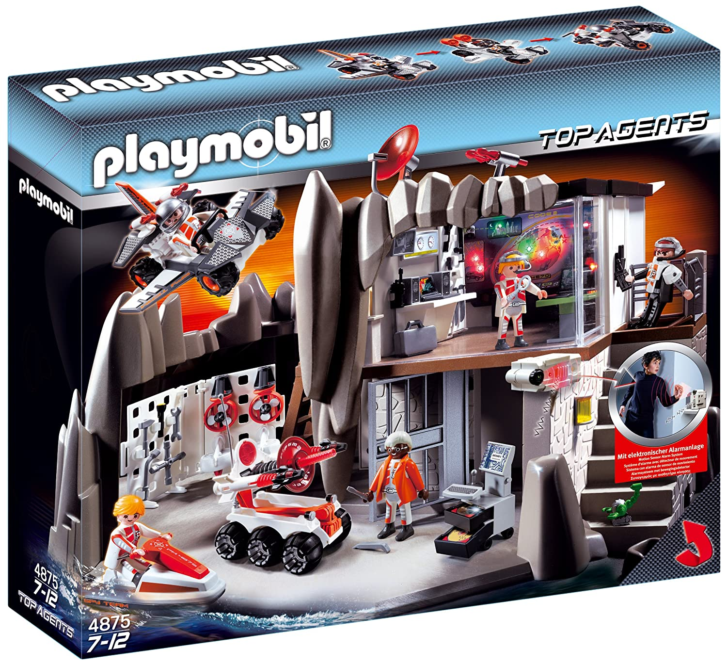 Amazon.com: PLAYMOBIL Secret Agent Headquarters with Alarm System: Toys & Games