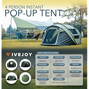 FiveJoy Instant 4-Person Pop Up Dome Tent