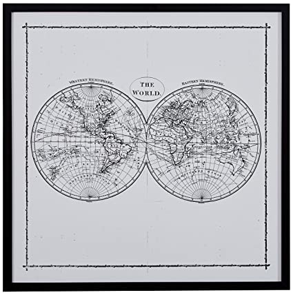 image about World Map Printable Black and White identify World-wide Map Hemisphere Print inside Black and White Typical Wall Artwork, Black Body, 12.5\