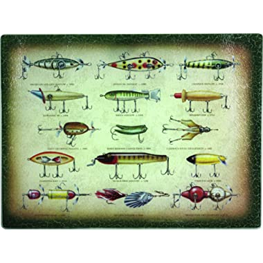 River's Edge Tempered Glass Cutting Board with Antique Fishing Lure Design (Fishing Lure, 16-Inchx12-Inchx.5-Inch)