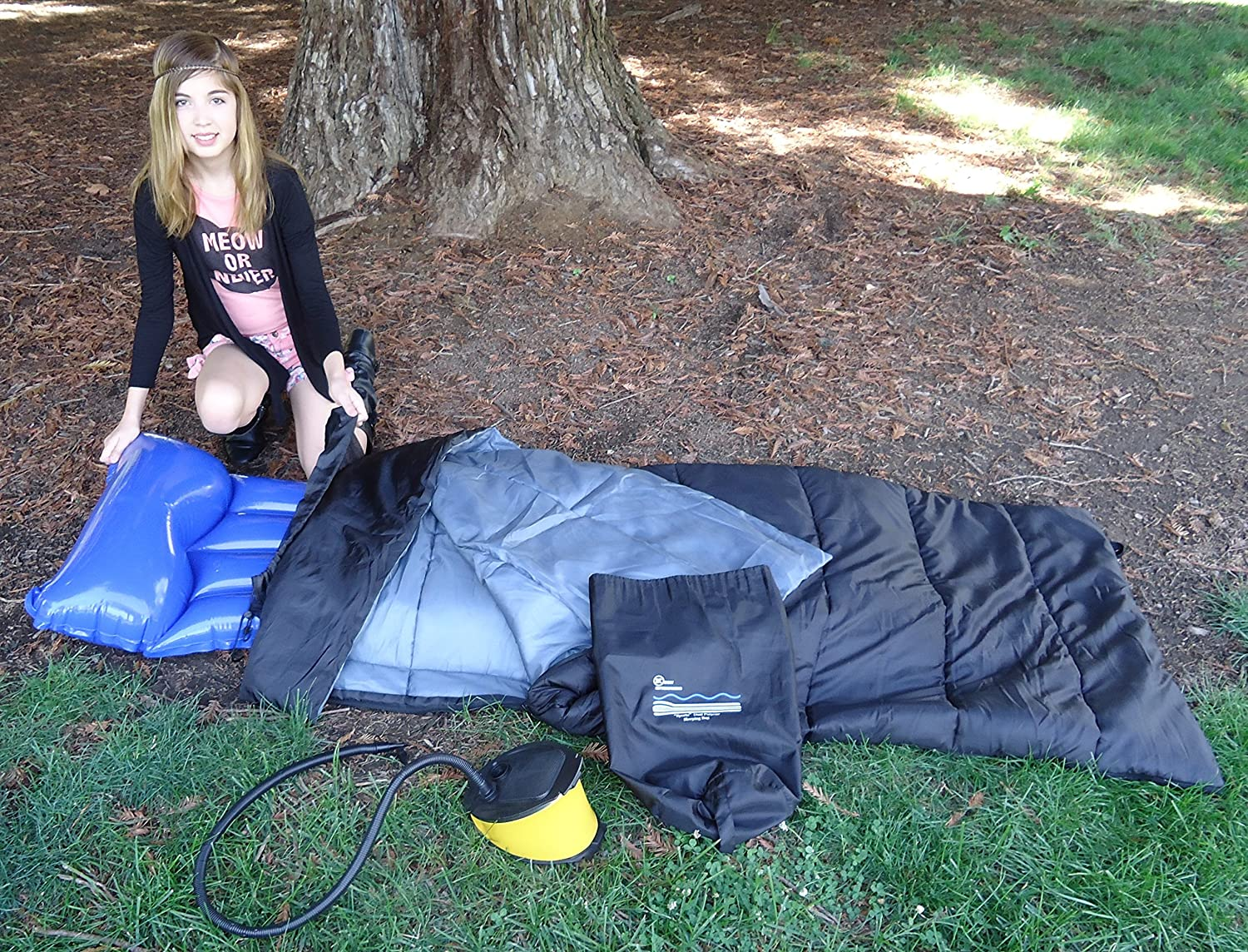 Keen Enterprises Sports Dual Purpose Air Mattress Sleeping Bag for Camping and Sleepovers it s Water resistant, and Durable. Fits Rubber Pads. Includes Bellows Foot Pump and Air mattress Youtube