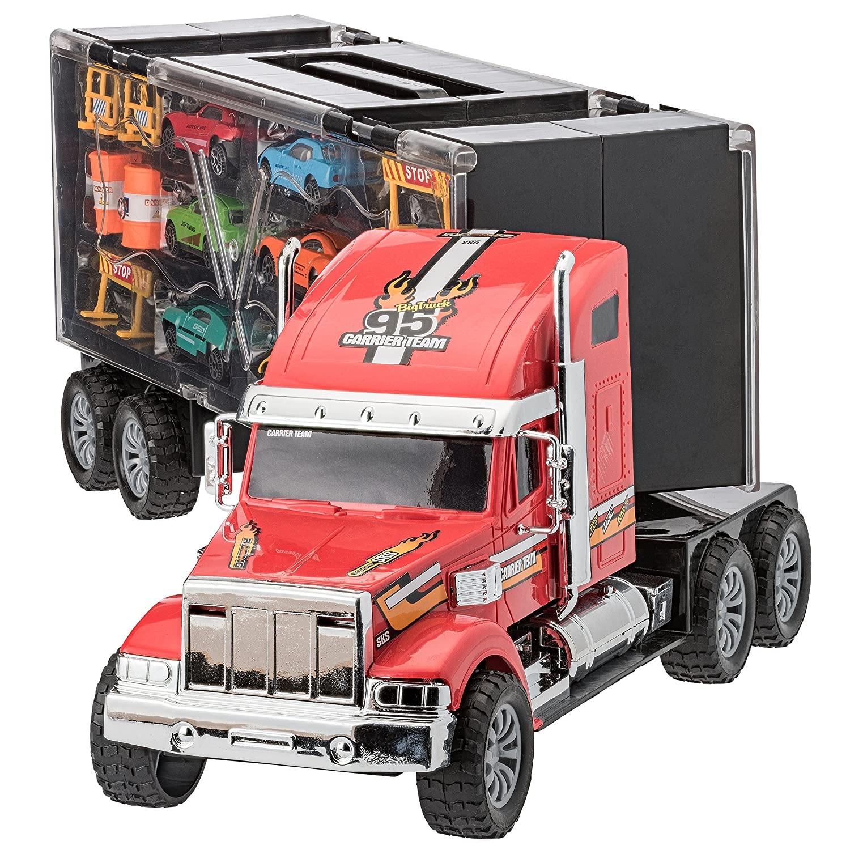Prextex - Camión de Transporte Desmontable Transportador de Coches de Juguete de 60cm con Ruedas de Goma y 6 Coches de Juguete para Niños y Niñas: ...