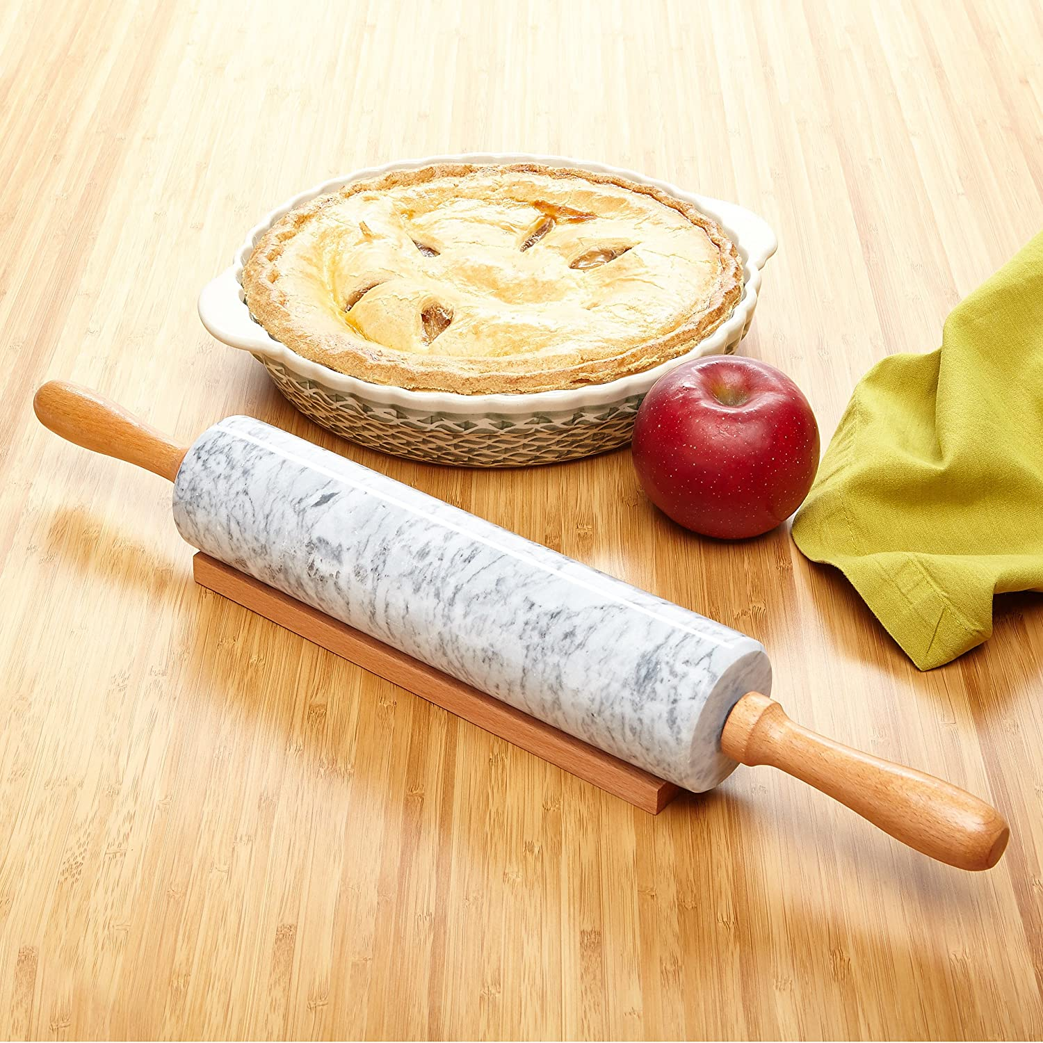18 inch With Smooth Wooden Handles For Easy Grip And Includes Wooden Cradle Miko Marble Stone Rolling Pin