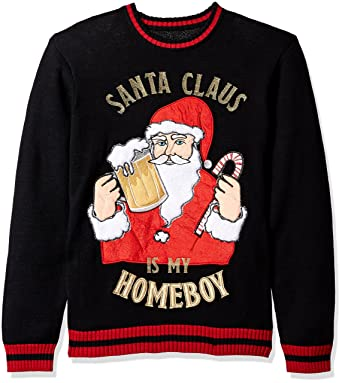 5cf6cee2d40 Blizzard Bay Men s Santa is My Homeboy Ugly Christmas Sweater at Amazon  Men s Clothing store
