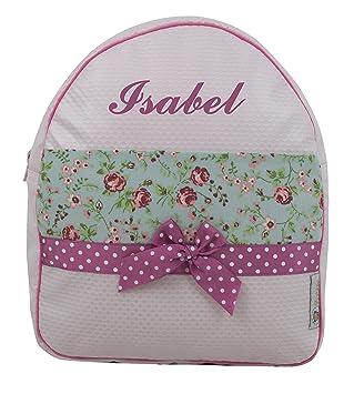 Mochila o Bolsa Infantil Personalizada con Nombre en plastificado Beige y Franja de Flores: Amazon.es: Equipaje