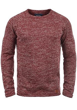 Blend Dan Herren Strickpullover Feinstrick Pullover Mit Rundhals Und  Melierung, Größe:S, Farbe