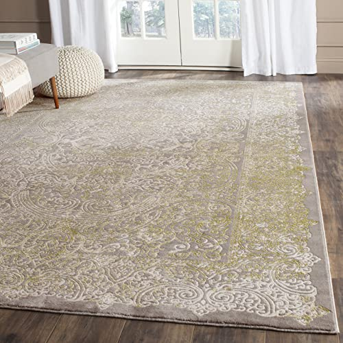 Safavieh Passion Collection PAS404D Oriental Vintage Watercolor Grey and Green Distressed Area Rug 4 x 5 7