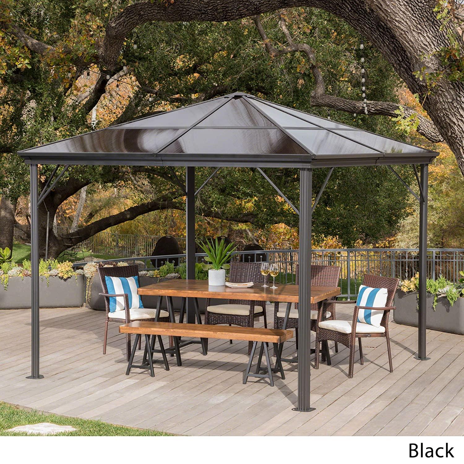 10x10 Hard Top Gazebo Aluminum Pergola Metal Large Outdoor ...