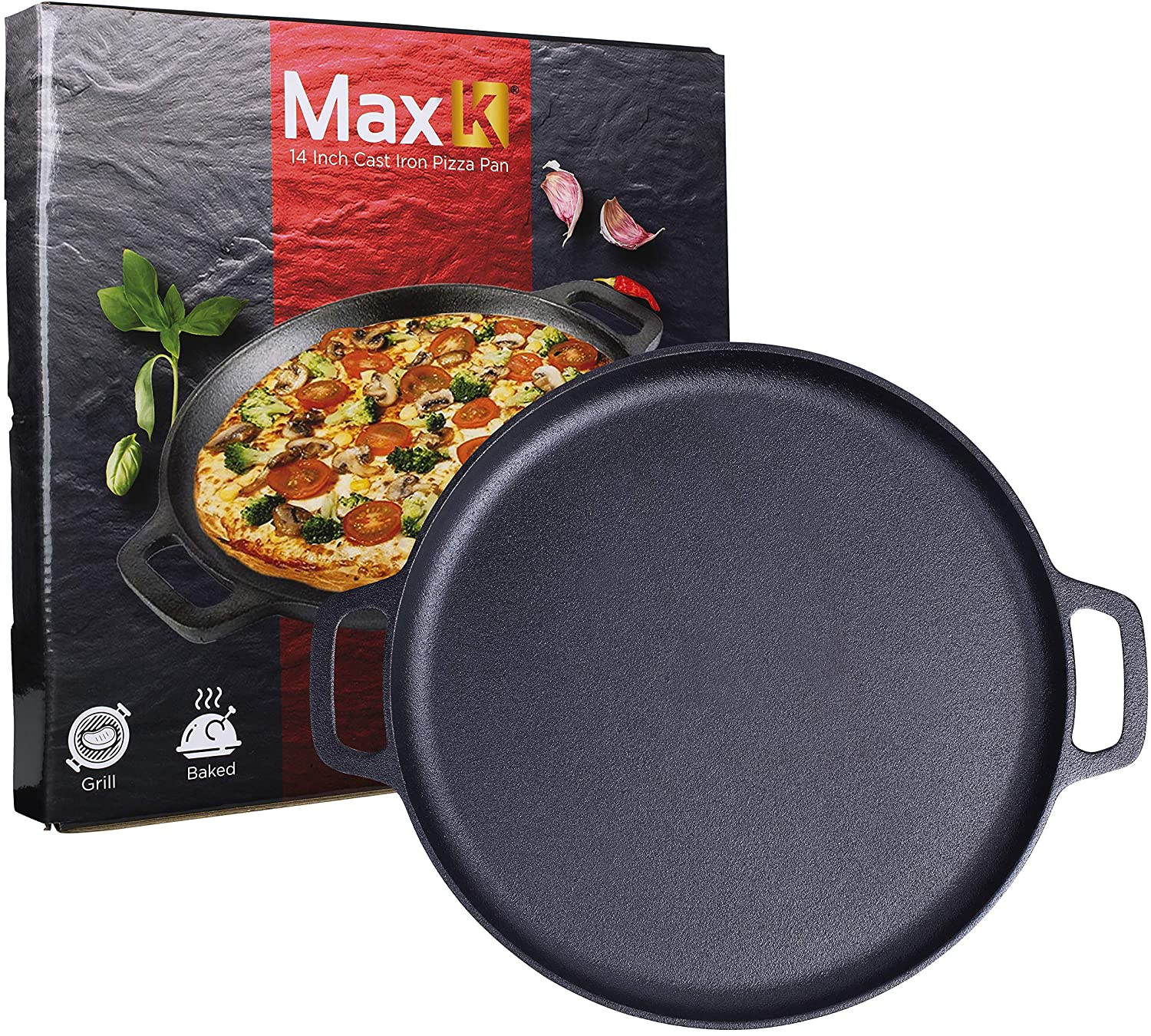 Max K 14-Inch Pizza Pan with Handles - Pre-Seasoned Skillet for Baking, Roasting, Frying, Induction Cooking - Large Cast Iron Bakeware for Cookies, Chicken, Casseroles - Black Cookware with Deep Walls