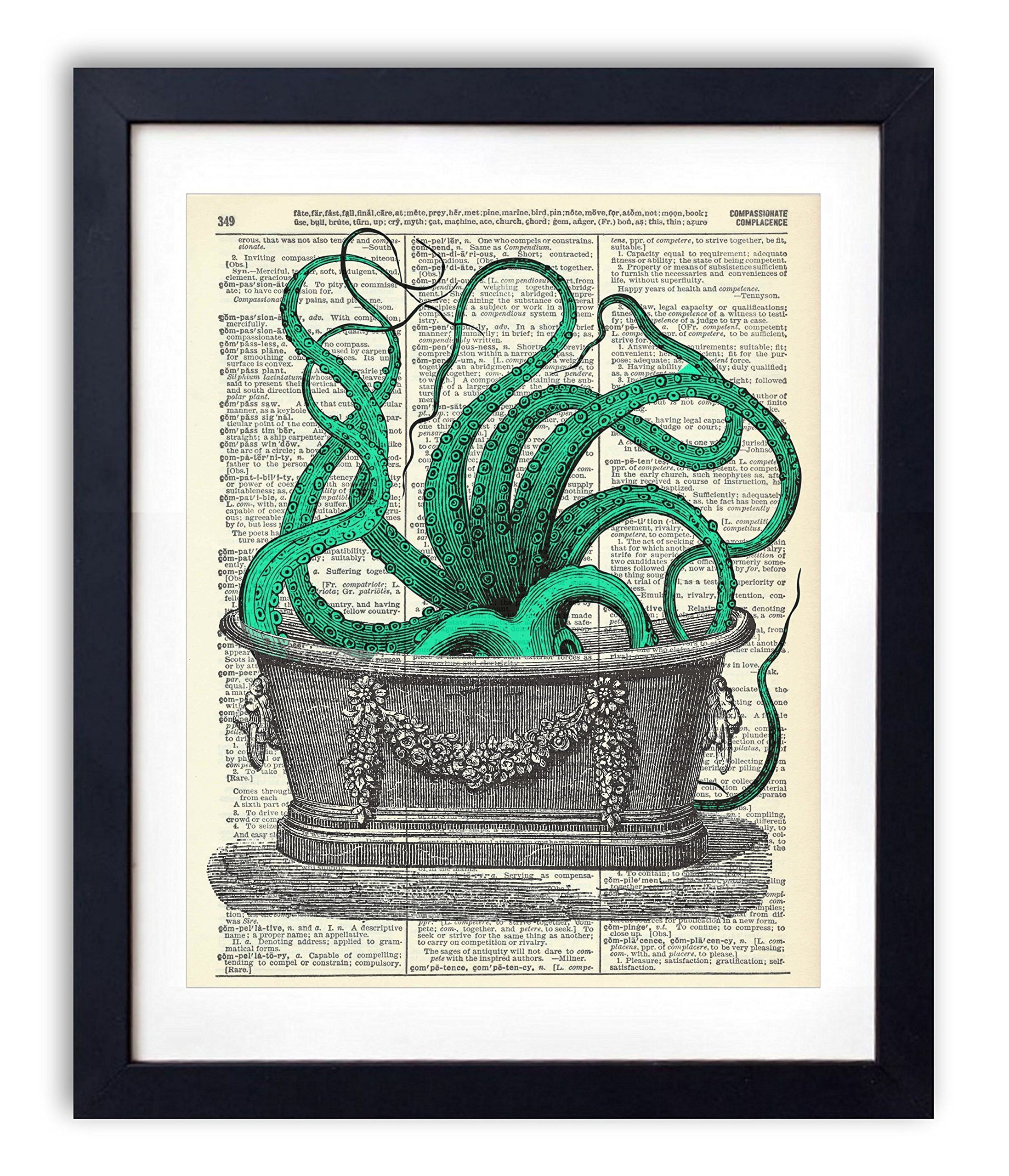 Octopus In The Tub Upcycled Vintage Dictionary Art Print 8x10 3