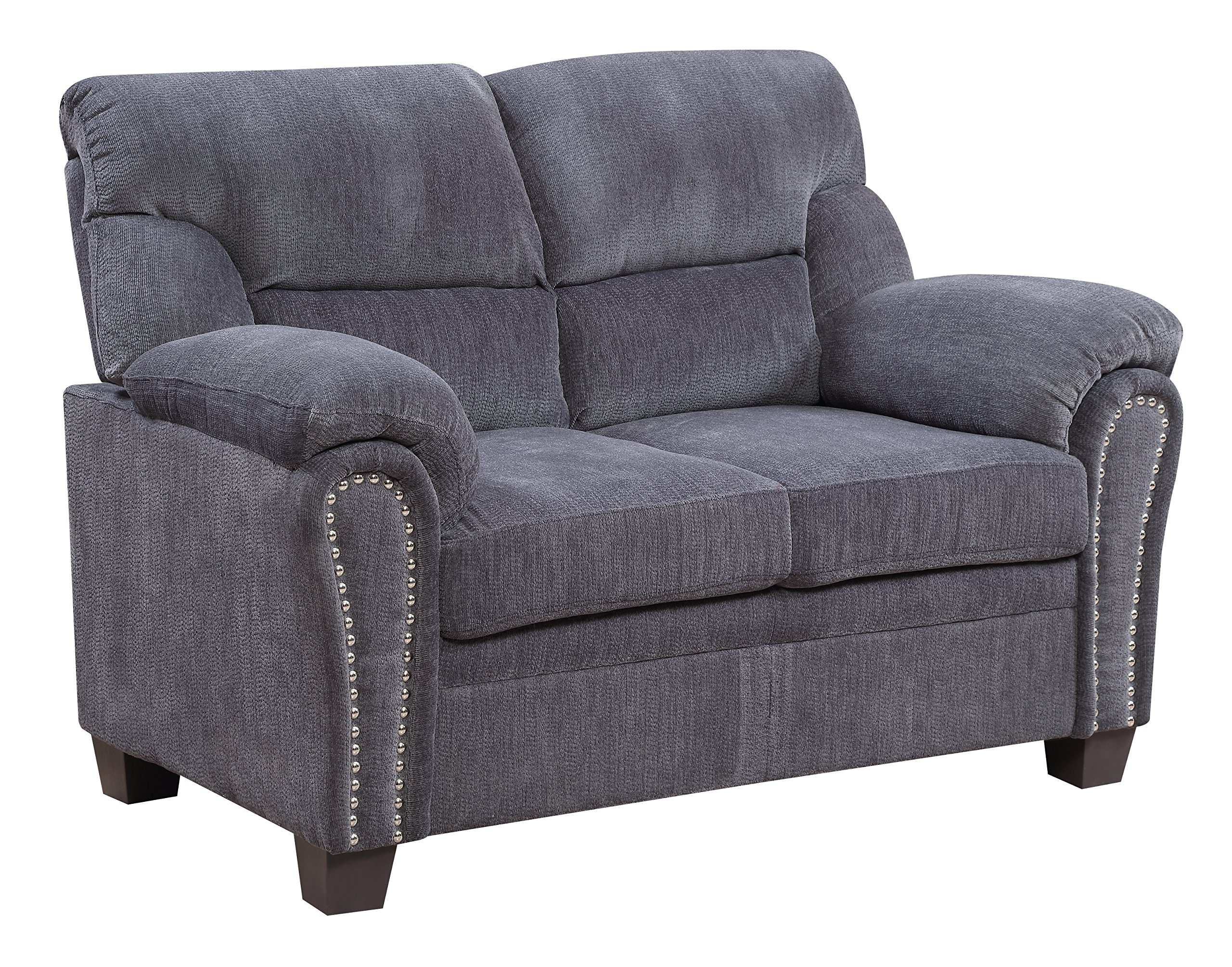 Furniture World Jefferson Love Seat, Gray Chenille Fabric