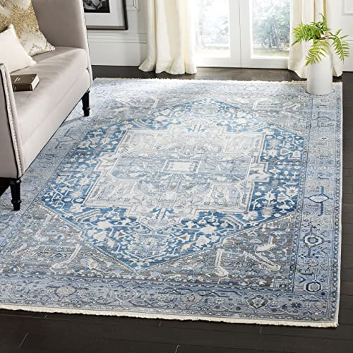 Safavieh Vintage Persian Collection Charcoal and Blue Polyester Area Rug, 8 x 10 ,