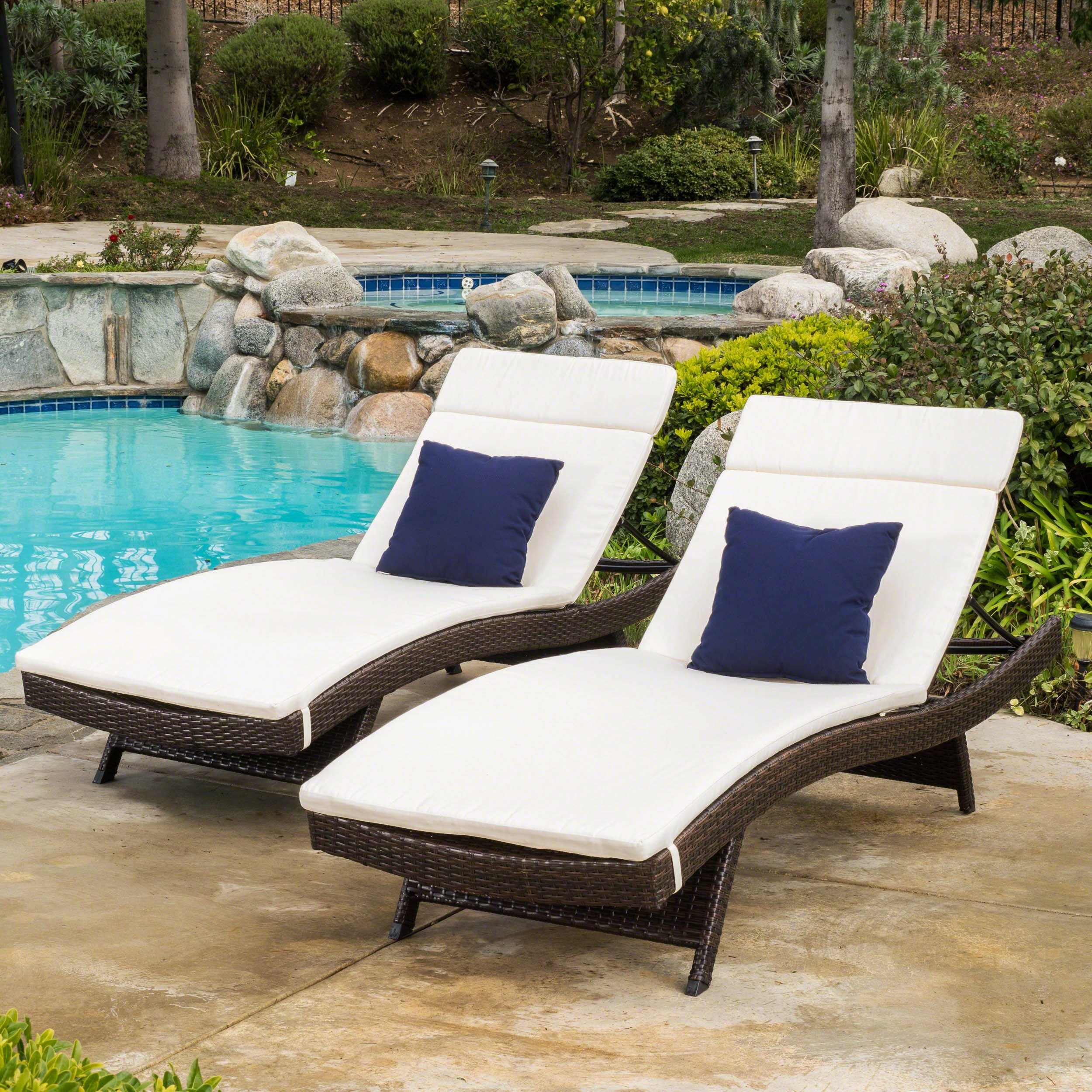Lakeport Patio ~Outdoor Chaise Lounge Chair Cushions (Only)(Set of 2)(Beige) by Christopher Knight Home