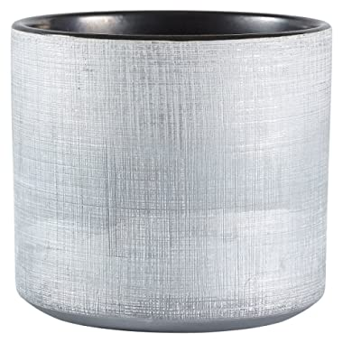 Rivet Rustic Textured Stoneware Indoor Planter Pot, 6.25 H, Silver