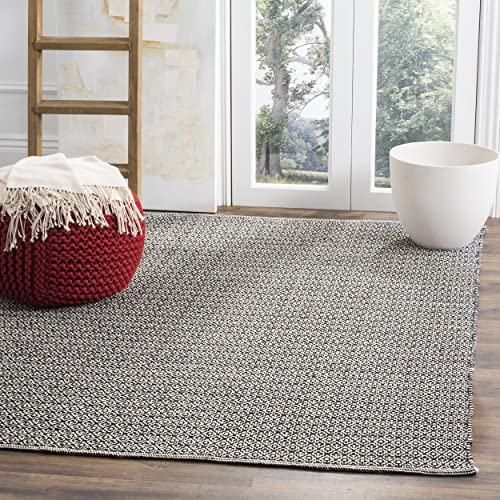 Safavieh Montauk Collection MTK717D Handmade Flatweave Ivory and Black Cotton Area Rug 4' x 6'