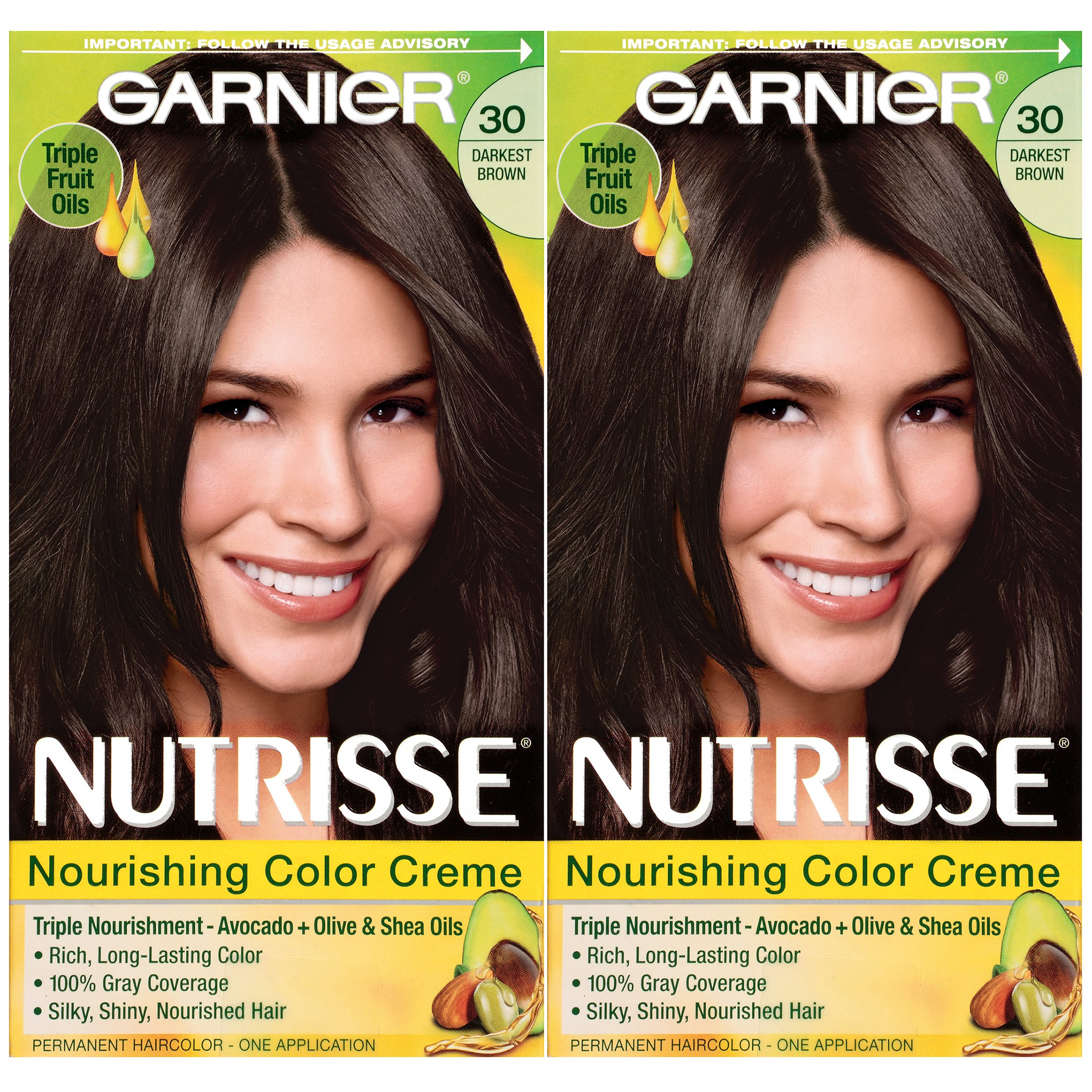 Garnier Hair Color Nutrisse Nourishing Creme, 30 Darkest Brown (Sweet Cola), 2 Count