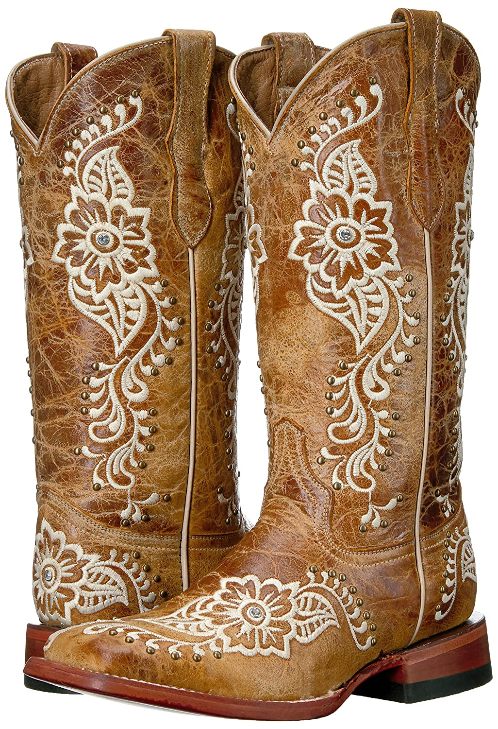 Ferrini Women's Ladies Wild Western Flower A/s Square Toe Western Wild Boot B01DW59K3M 7 B(M) US|A/S 9ed78b