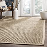 Safavieh Natural Fiber Collection NF114A Basketweave Natural and Beige Summer Seagrass Square Area Rug (10' Square)