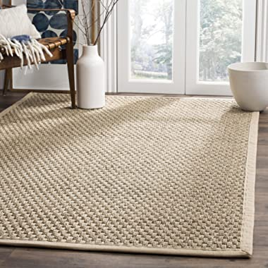 Safavieh Natural Fiber Collection NF114A Basketweave Natural and Beige Summer Seagrass Square Area Rug (6' Square)