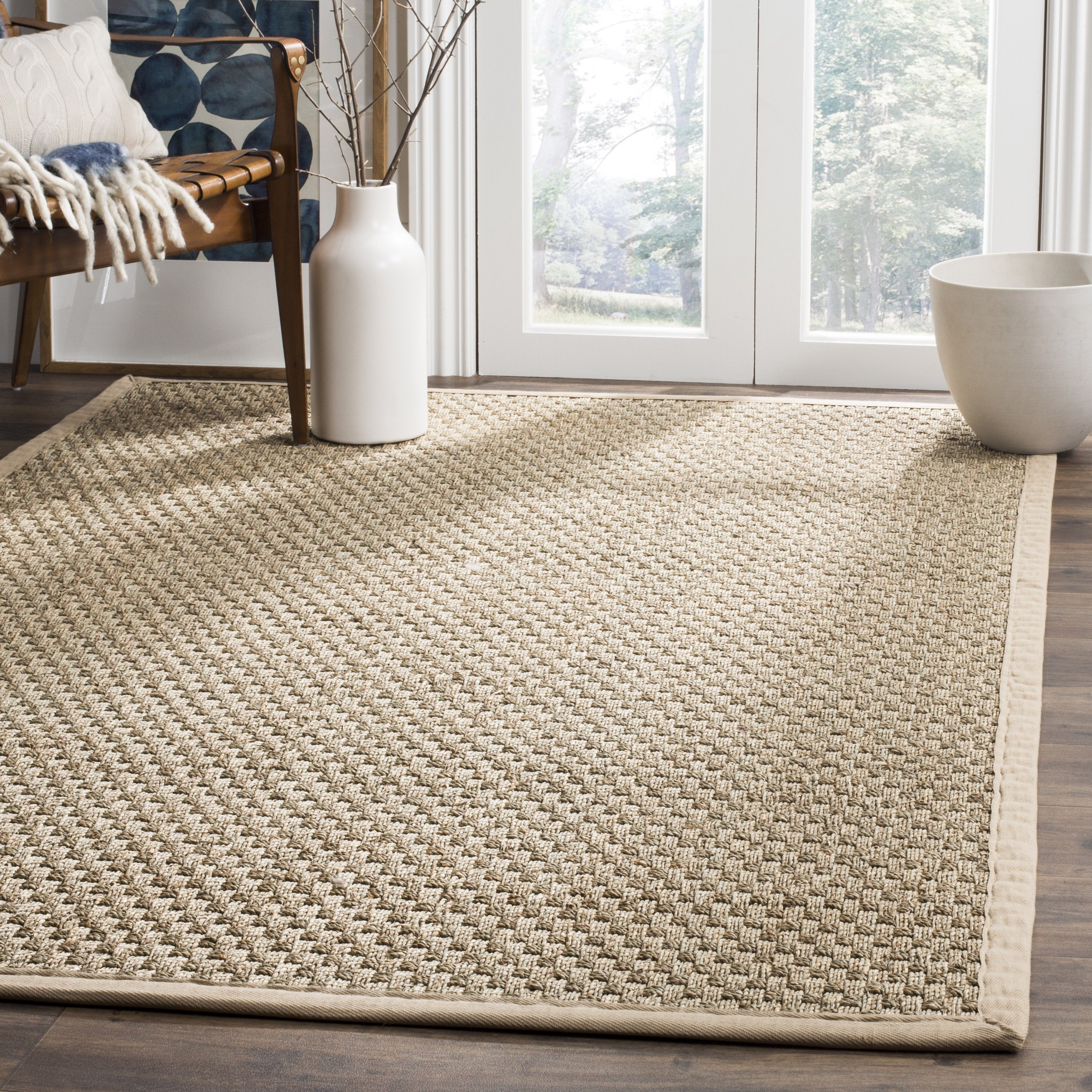 Safavieh Natural Fiber Collection NF114A Basketweave Natural and  Beige Seagrass Area Rug (6' x 9') by Safavieh