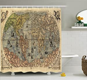 Ambesonne Antique Decor Collection, Ancient Map of World Global History Stained Paper Oceans Lands Atlas Educational Art, Polyester Fabric Bathroom Shower Curtain with Hooks, Ivory Blue Green