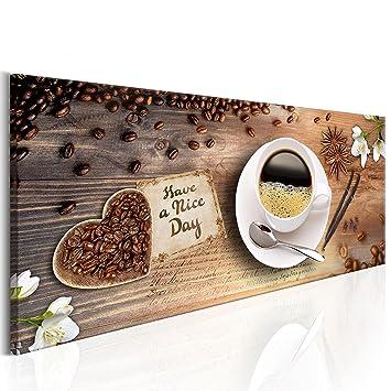 decomonkey Bilder Kaffee Küche 150x50 cm XXL Leinwandbilder Bild auf  Leinwand Vlies Wandbild Kunstdruck Wanddeko Wand Wohnzimmer Wanddekoration  Deko ...