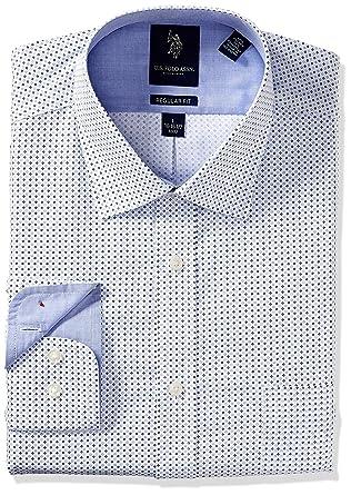 15d8d58dc U.S. Polo Assn. Men s Printed Regular Fit Semi Spread Collar Dress Shirt