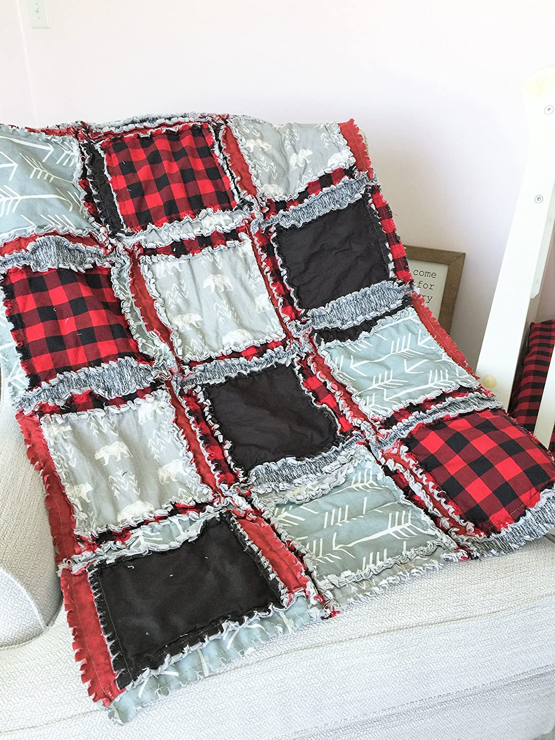 Image of Bear Blanket - Gray/Red Plaid/Black - QUILT Only Home and Kitchen