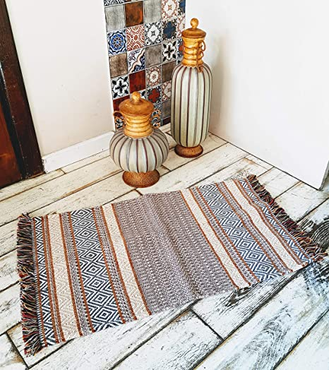 Secret Sea Collection, Retro Mosaic Pattern Colorful Area Rug, Cotton, Washable (2 x 3, Towny Brown)