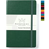 Minimalism Art, Classic Notebook Journal, A5 Size 5 X 8.3 inches, Green, Ruled Lined Page, 192 Pages, Hard Cover, Fine PU Leather, Inner Pocket, Quality Paper-100gsm, Designed in San Francisco