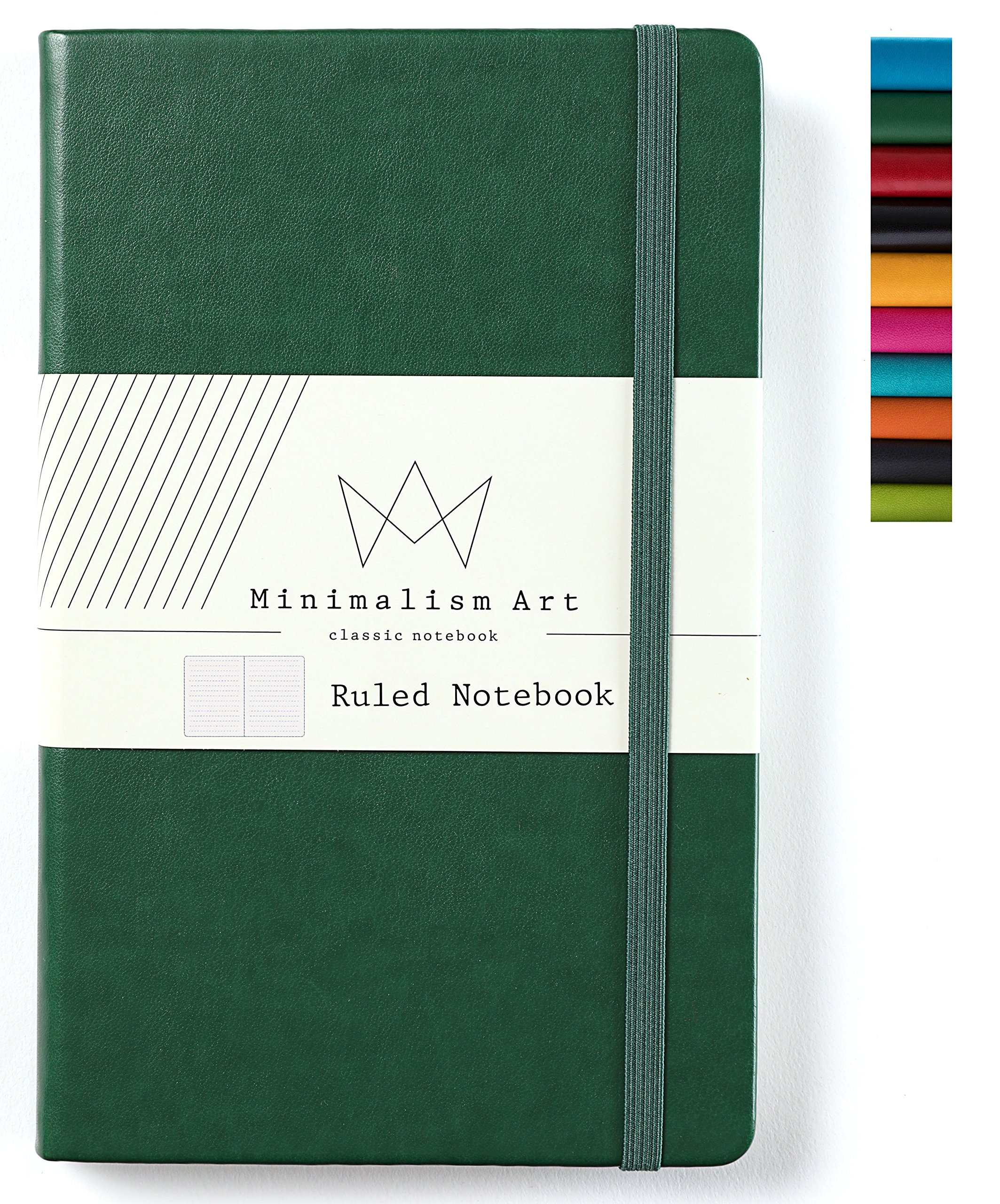 Minimalism Art | Classic Notebook Journal, Size: 5'' X 8.3'', A5, Green, Ruled/Lined Page, 192 Pages, Hard Cover/Fine PU Leather, Inner Pocket, Quality Paper - 100gsm | Designed in San Francisco
