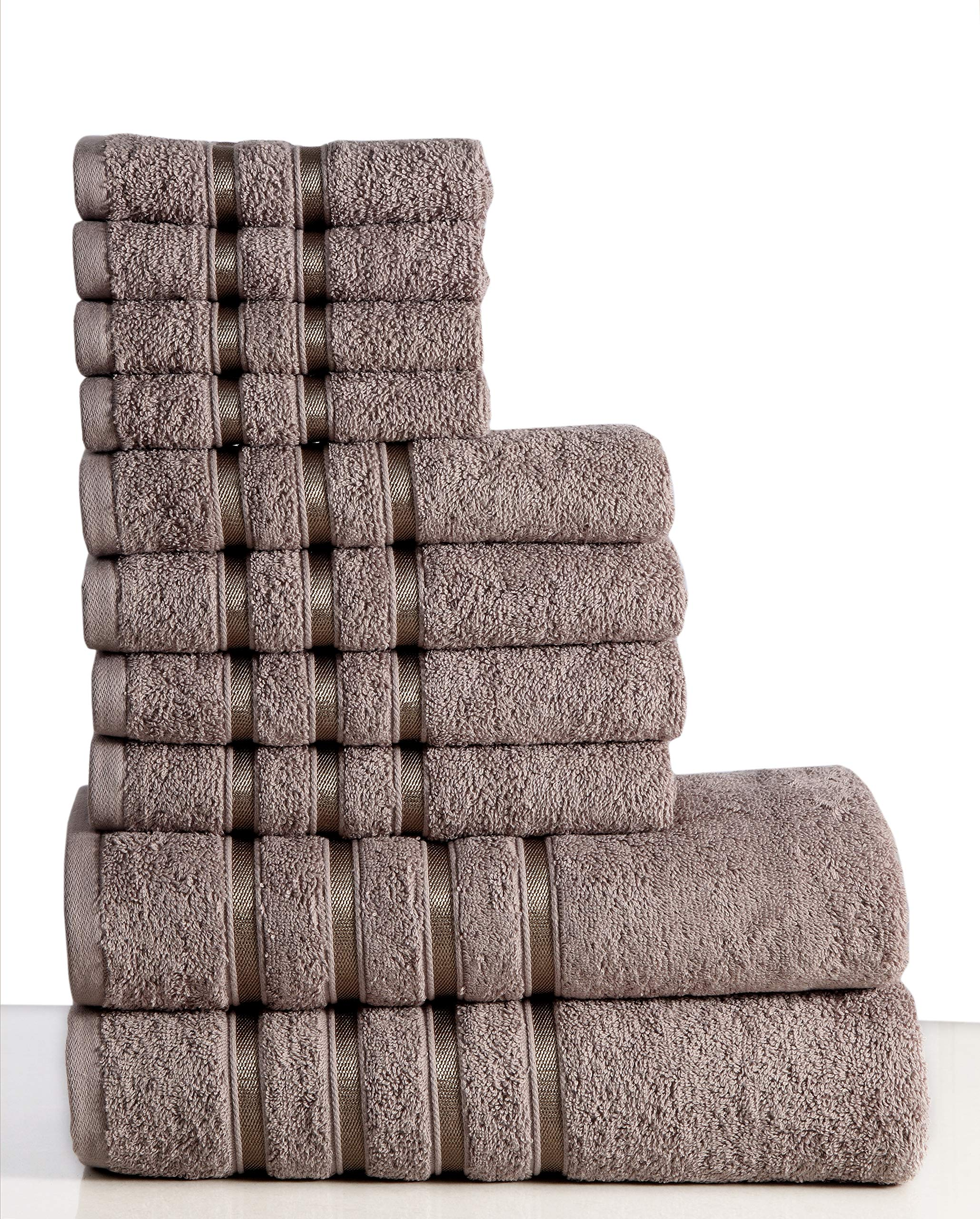 Wicker Park 550 GSM Ultra Soft Luxurious 10-Piece Towel Set (Platinum): 2 Bath Towels, 4 Hand Towels, 4 Washcloths, Long-Staple Combed Cotton, Spa Hotel Quality, Super Absorbent, Machine Washable