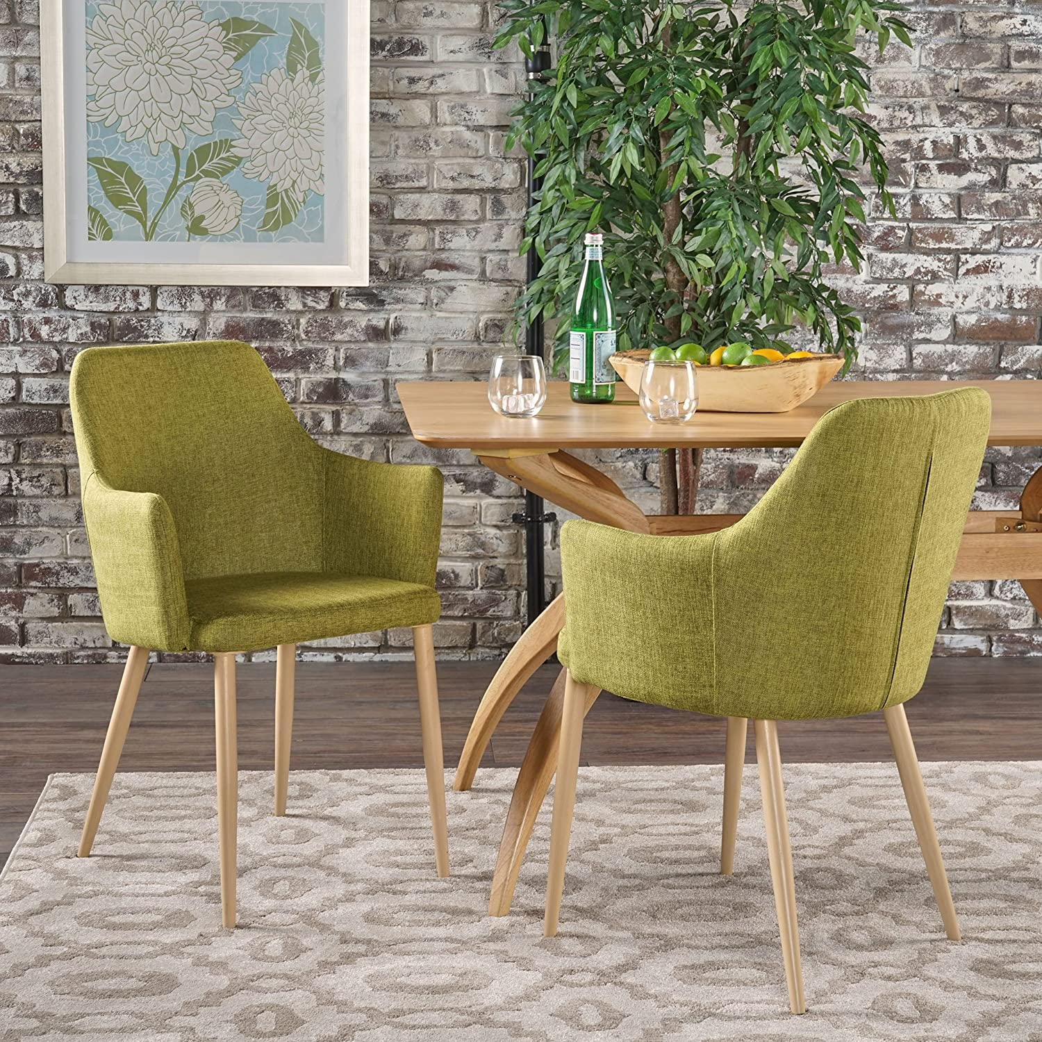 Christopher Knight Home Zeila Mid Century Modern Dining Chair, Green Light Brown