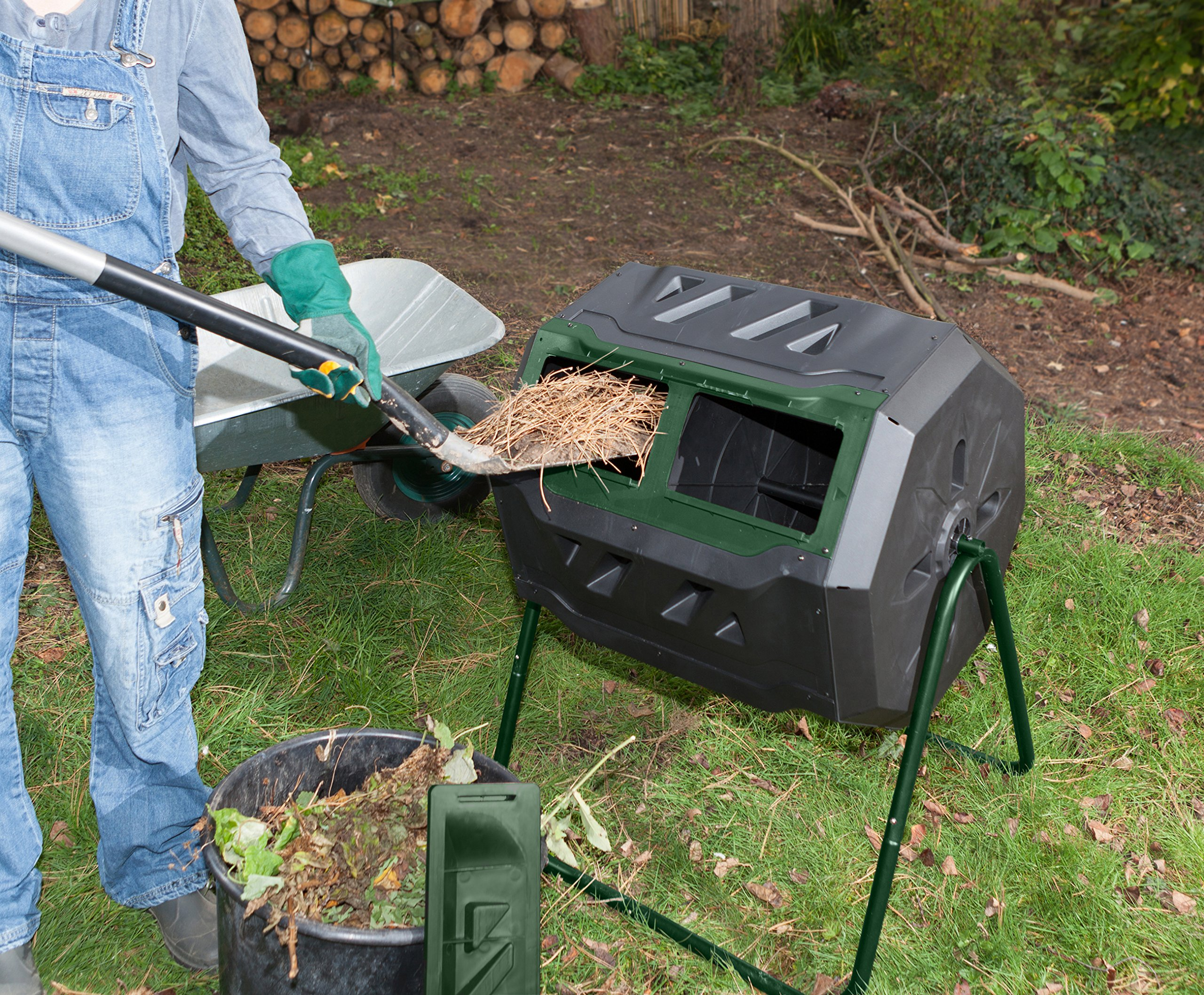 Exaco Trading Company Exaco Mr.Spin Compost Tumbler - 160 Liters / 43 Gallon, Dual Chamber Composter On Two-Leg Stand by Exaco Trading Company (Image #1)