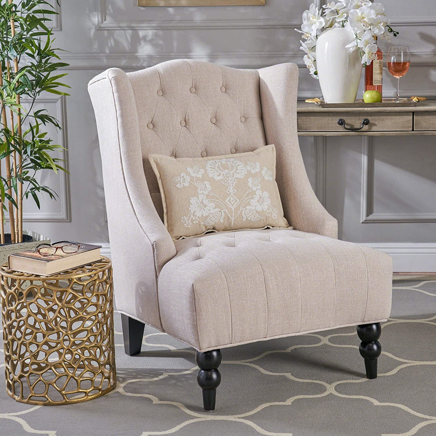 Great Deal Furniture Tufted Fabric Accent Wingback Chair
