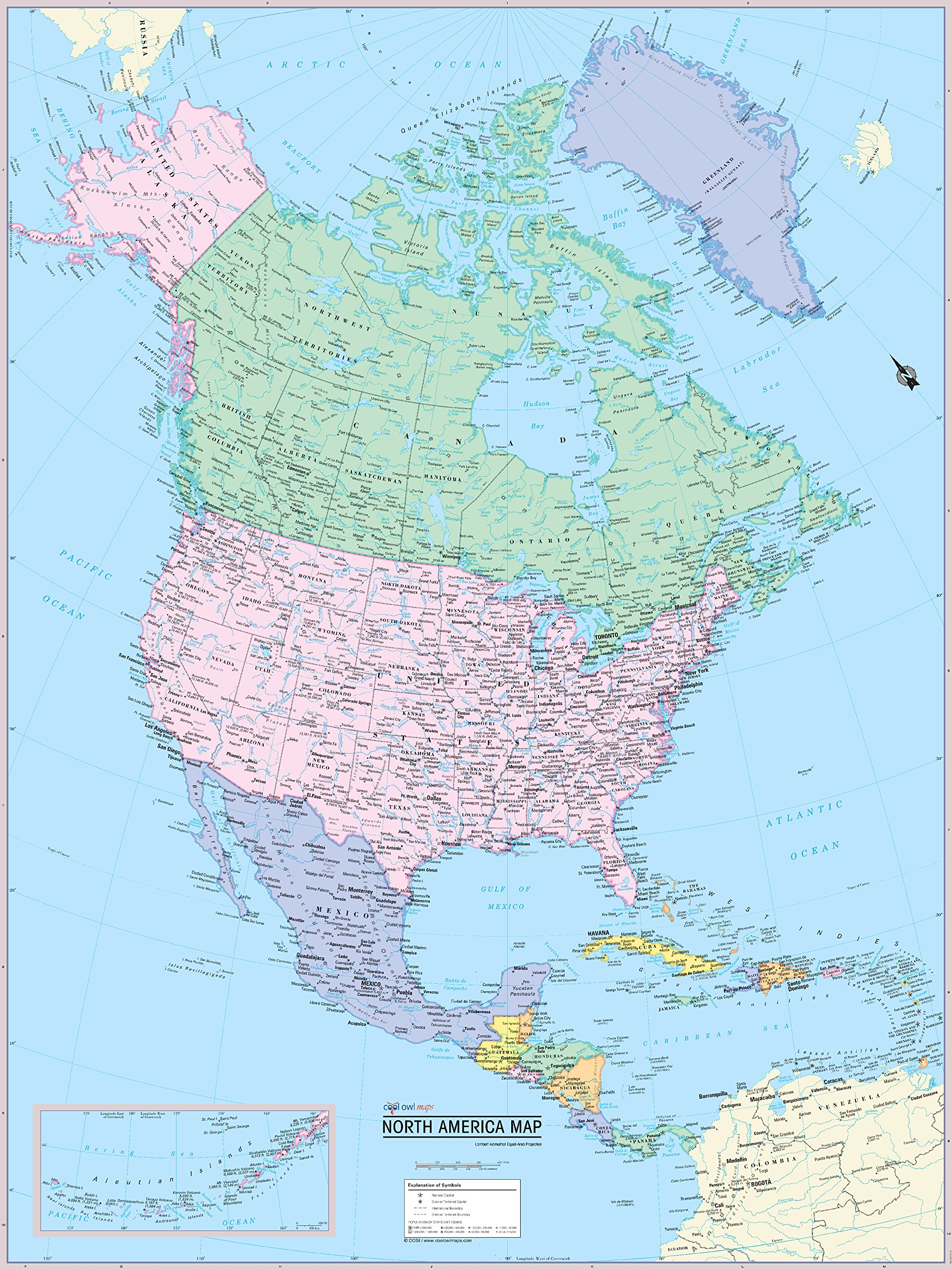 CoolOwlMaps North America Continent Wall Map Poster - Rolled (laminated 24x32)