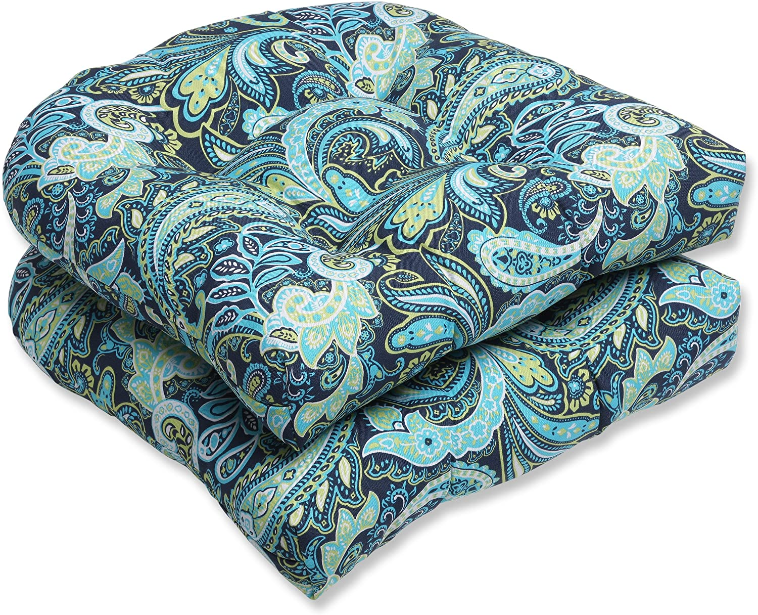 Pillow Perfect Outdoor Pretty Paisley Wicker Seat Cushion